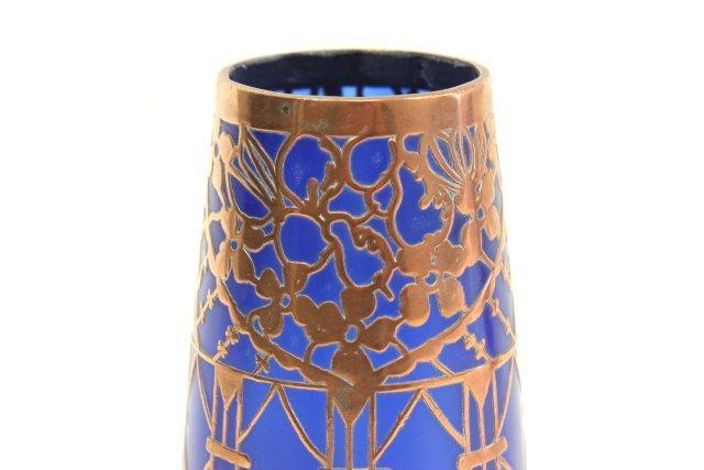 Pair Overlay Cobalt Glass Vases - 3