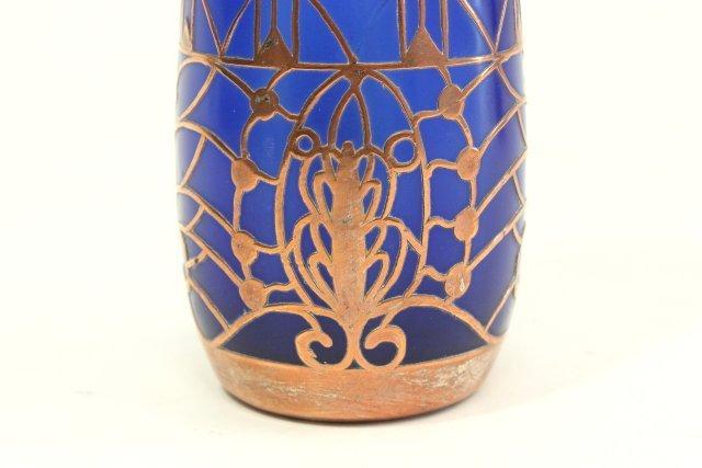 Pair Overlay Cobalt Glass Vases - 4