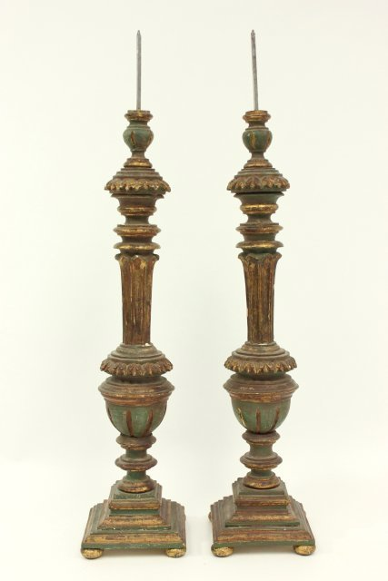 Pair 19th Century Giltwood Pricket Sticks