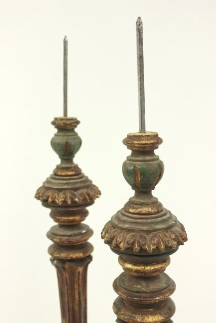 Pair 19th Century Giltwood Pricket Sticks - 4