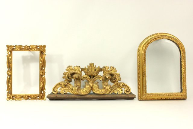 Pair Giltwood Frames & Gilt Architectural Element