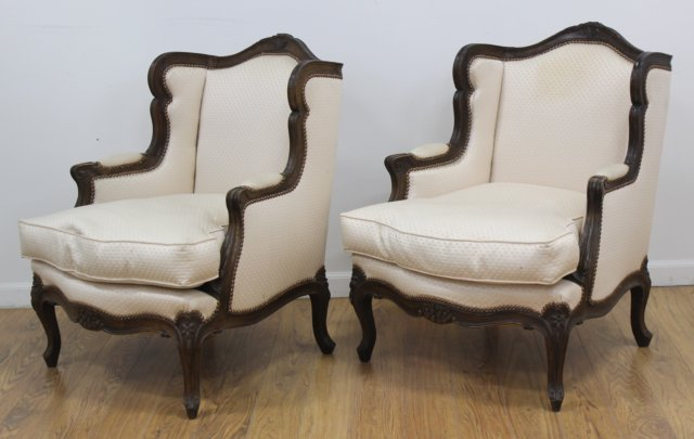 Pair Louis XV Style Beechwood Bergeres