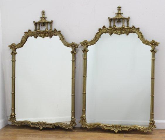 Pair Gilded Pagoda Top Mirrors