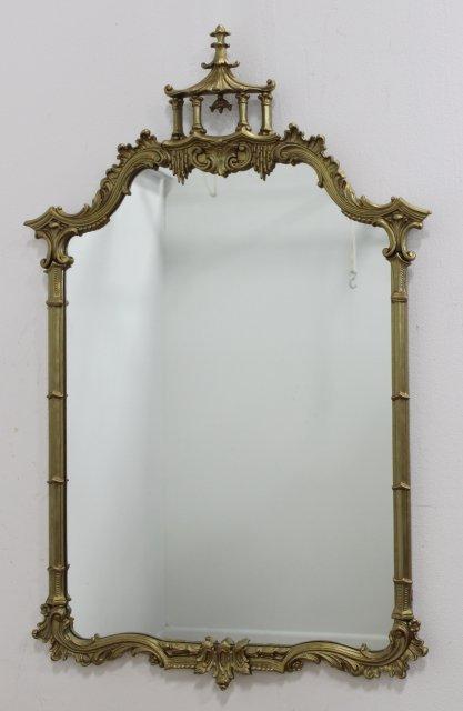 Pair Gilded Pagoda Top Mirrors - 2