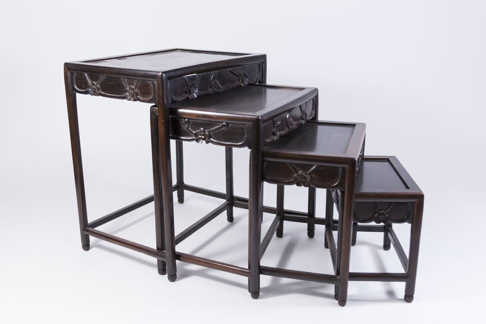 Nest of 4 Small Carved Hardwood Tables