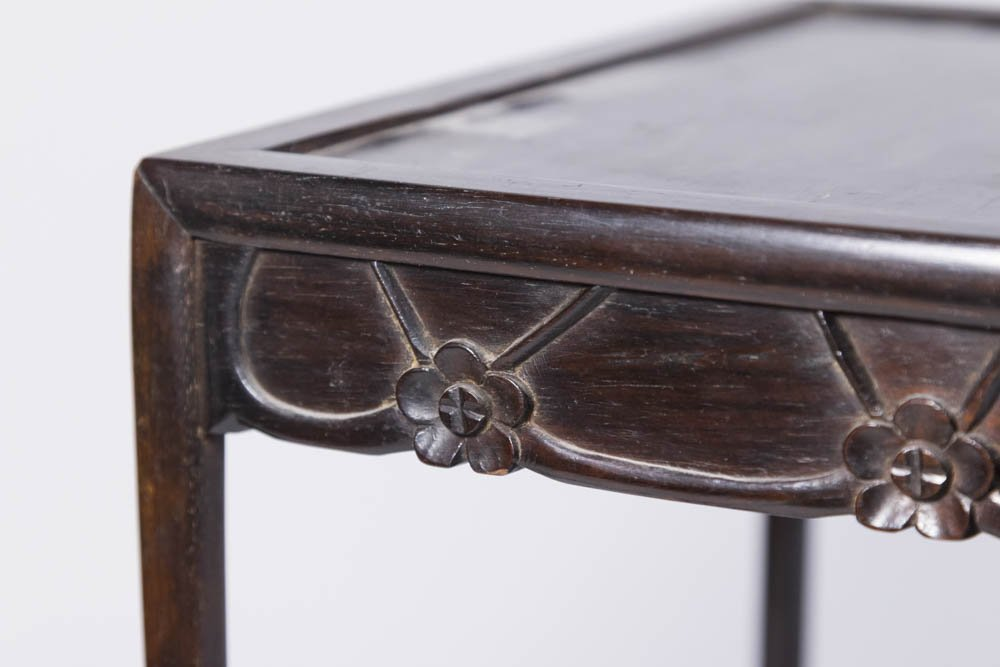 Nest of 4 Small Carved Hardwood Tables - 2
