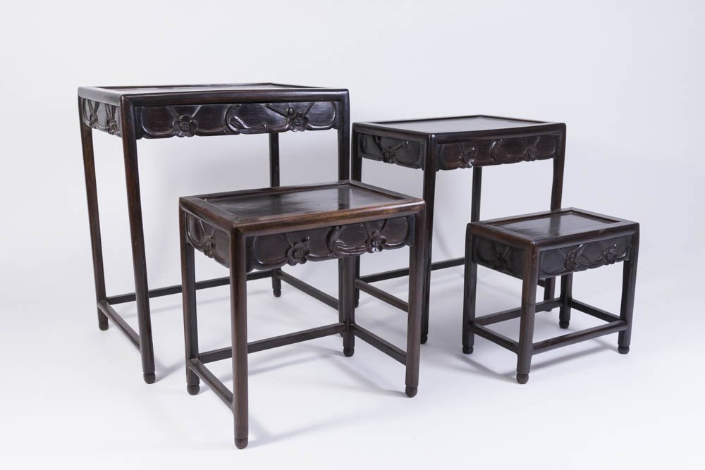 Nest of 4 Small Carved Hardwood Tables - 3