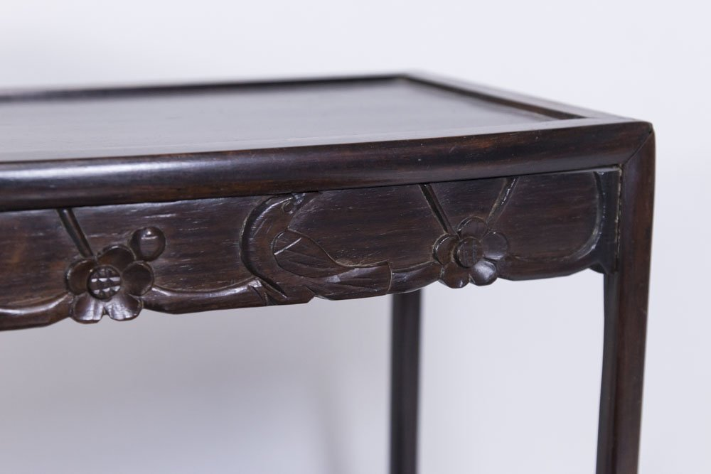 Nest of 4 Small Carved Hardwood Tables - 4