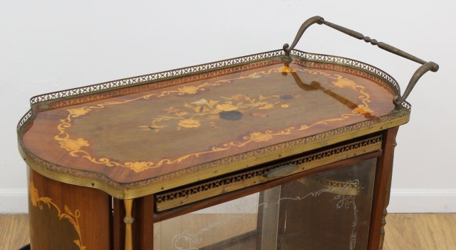 Spanish Floral Inlaid Satinwood & Walnut Teacart - 3