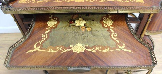Spanish Floral Inlaid Satinwood & Walnut Teacart - 4