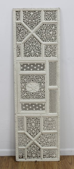 Moroccan Lattice Work Carved Wood & Painted Screen