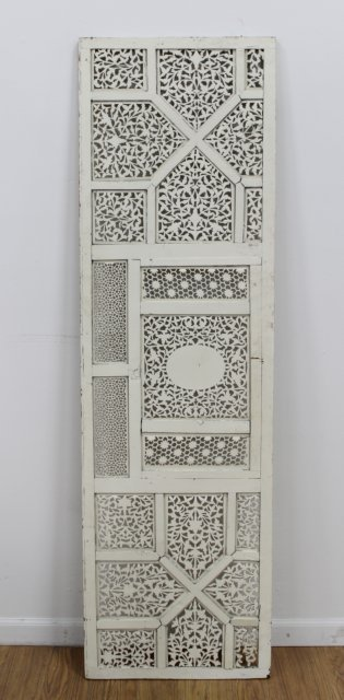 Moroccan Lattice Work Carved Wood & Painted Screen - 2