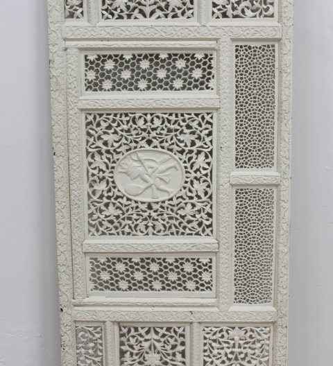 Moroccan Lattice Work Carved Wood & Painted Screen - 3