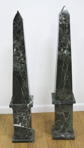 :Pair Black Marble Obelisks