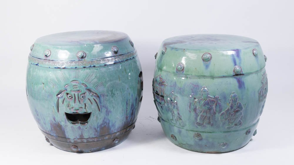Pair Chinese Pottery Blue-Green Garden Benches