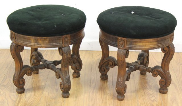 :Pair Louis XIV Style Beechwood Tabourets