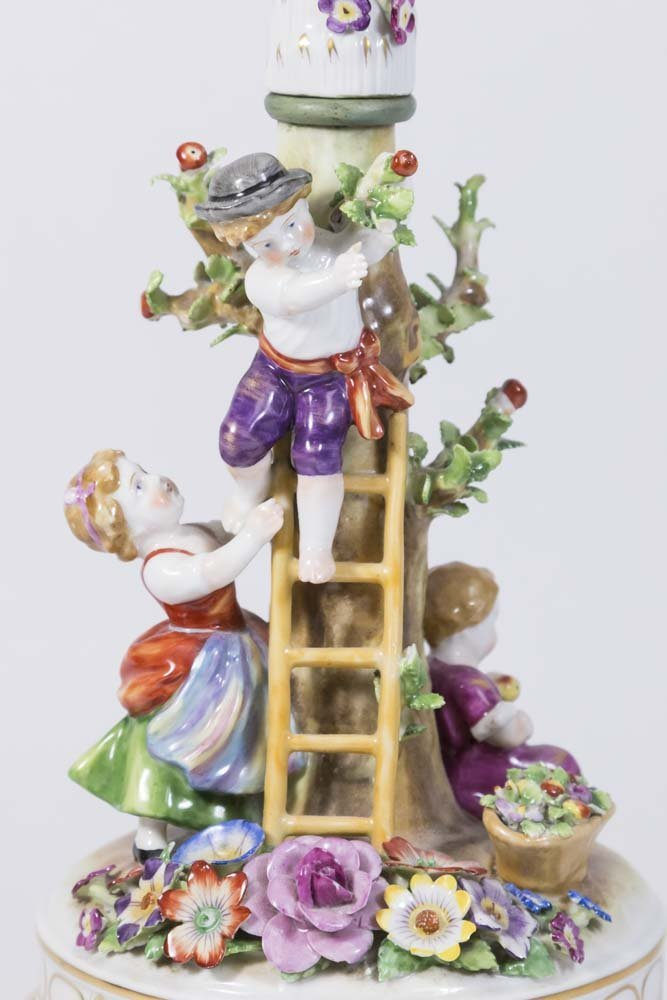 Dresden Style Porcelain Figural Lamp - 2