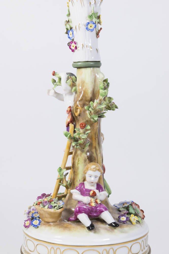 Dresden Style Porcelain Figural Lamp - 5