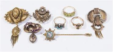 Group Lot Antique & Victorian Gold Jewelry