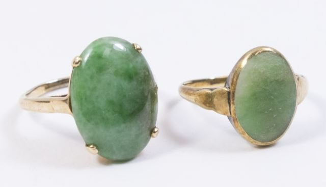 :2-14K Yellow Gold & Jade Rings