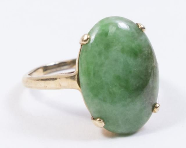 :2-14K Yellow Gold & Jade Rings - 2