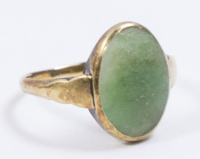 :2-14K Yellow Gold & Jade Rings - 3
