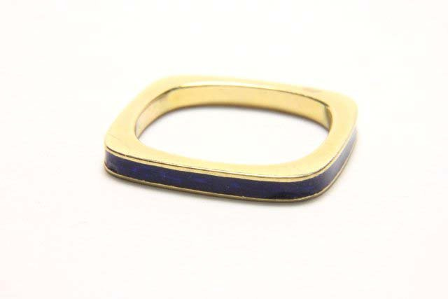 :Cartier 18K Square Band with Blue Enamel