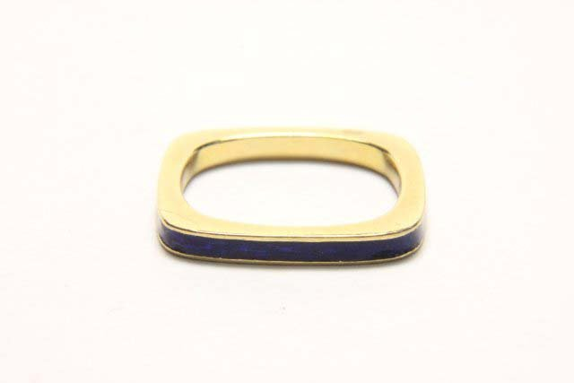 :Cartier 18K Square Band with Blue Enamel - 2