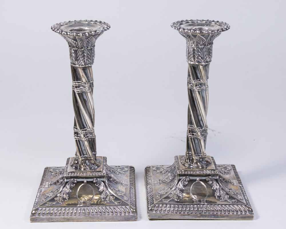Pr Victorian English Sterling Silver Candlesticks