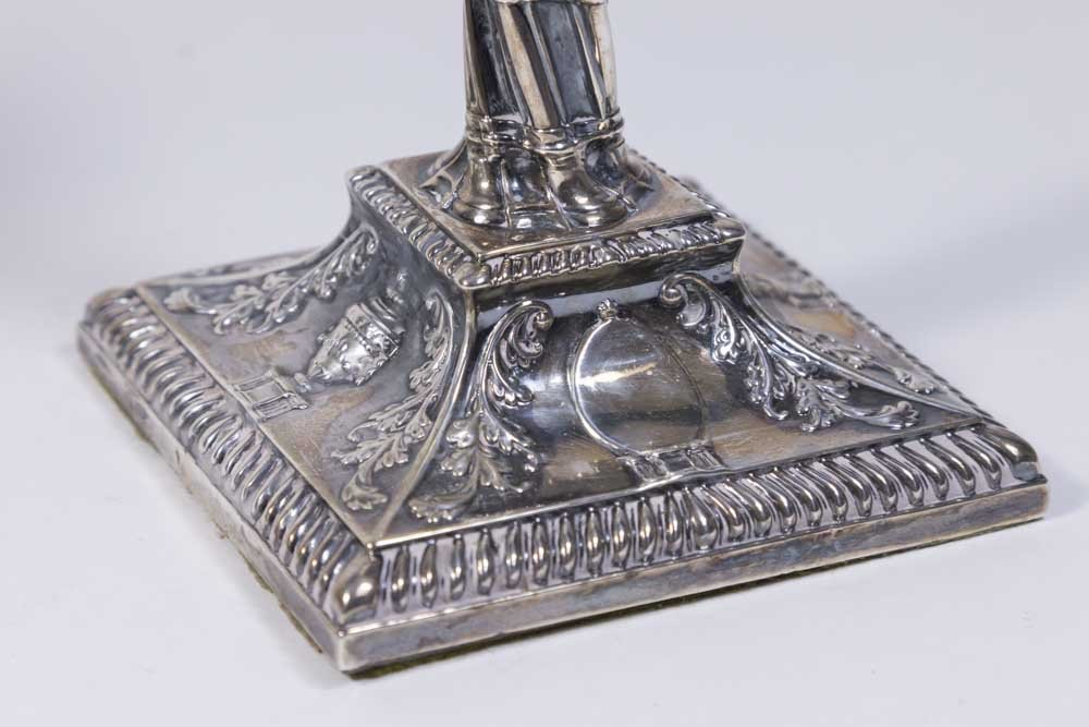 Pr Victorian English Sterling Silver Candlesticks - 3