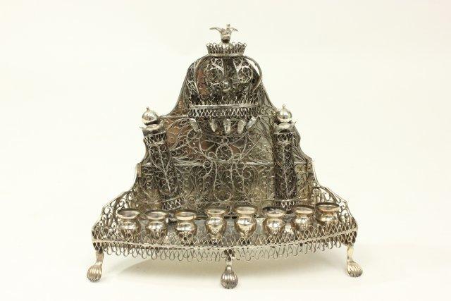 Judaica Hallmarked Silver Chanukah Lamp
