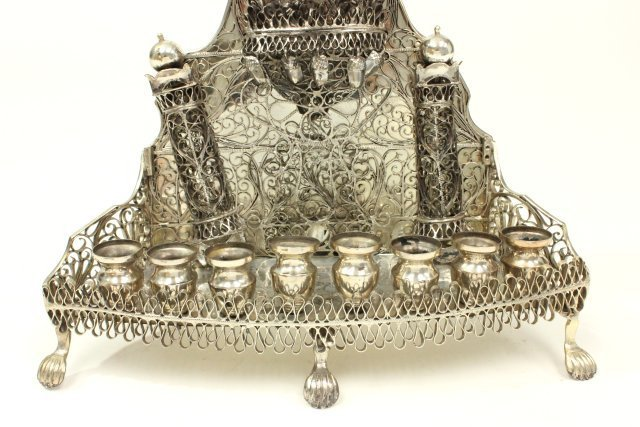 Judaica Hallmarked Silver Chanukah Lamp - 3