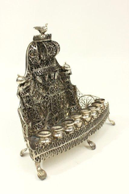 Judaica Hallmarked Silver Chanukah Lamp - 4