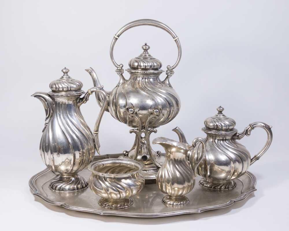 6-Piece A.C. Franke 800 Silver German Teaset