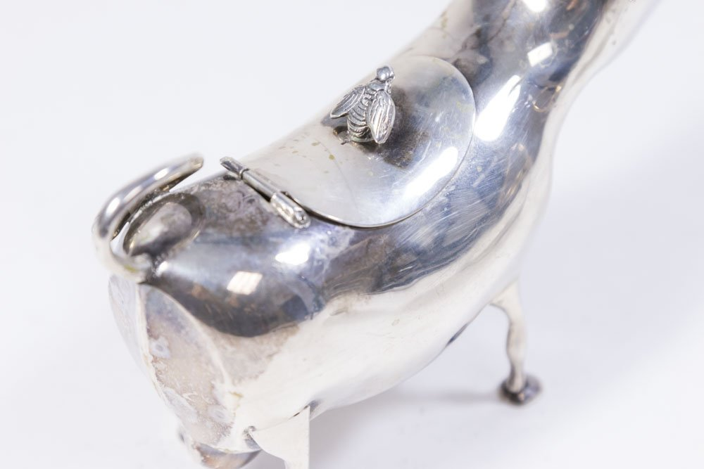 Silver Bull & German Silver Lidded Jam Pot - 4