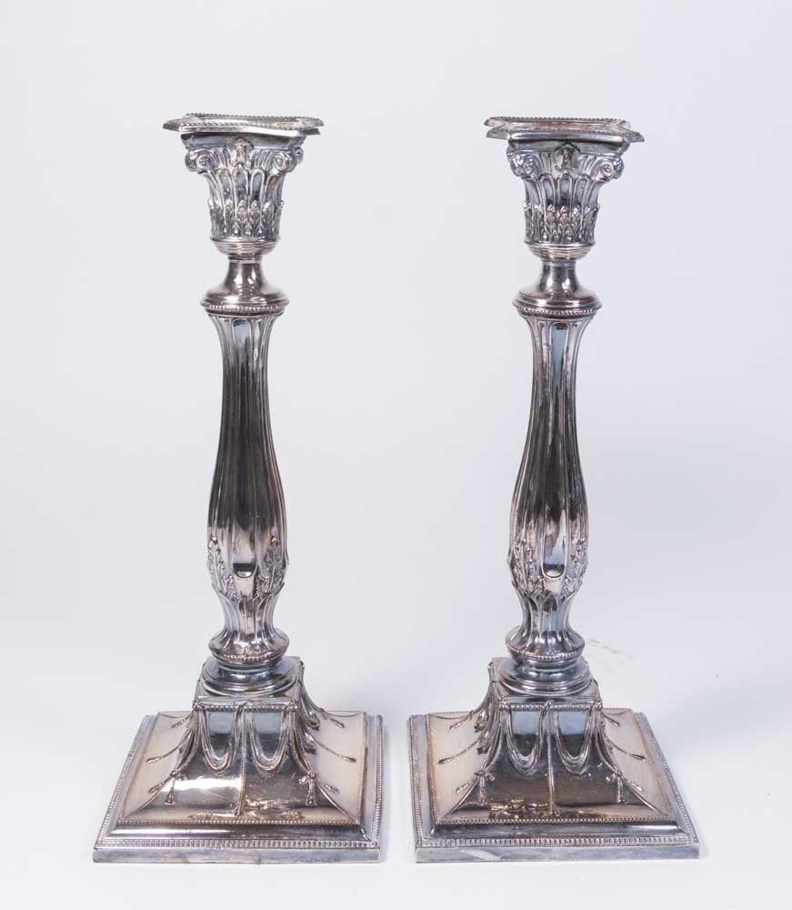 Pair English Silverplated Candlesticks