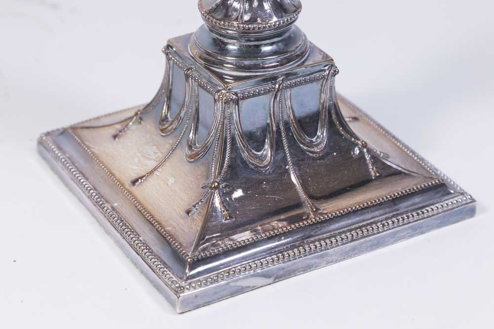 Pair English Silverplated Candlesticks - 4