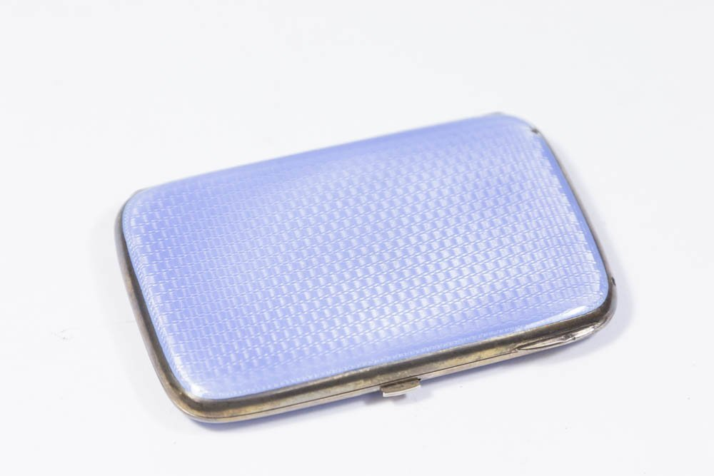 Silver & Blue Enameled Case in Fitted Box