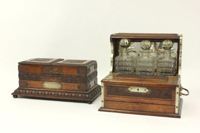 Carved Oak Humidor Box & Matching Tantalus