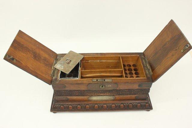 Carved Oak Humidor Box & Matching Tantalus - 8