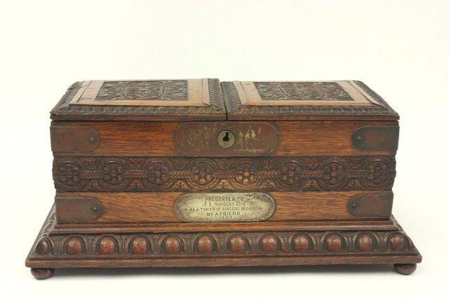 Carved Oak Humidor Box & Matching Tantalus - 9