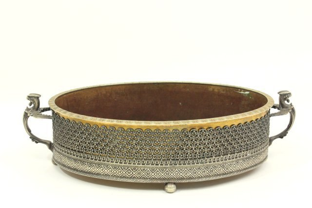 Silvered Metal & Bronze Dual Handled Centerpiece