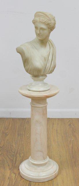 Marble Bust of Venus on Marble Pedestal