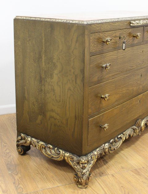 Rococo Style Parcel-Silvered Elm Dresser - 3