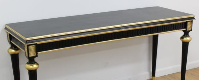 :Swedish Style Black & Gold Painted Console Table - 2