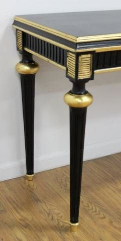 :Swedish Style Black & Gold Painted Console Table - 3