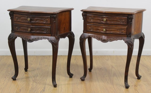 Pair Louis XV Style Rosewood Night Tables