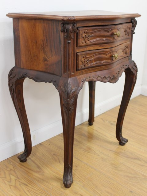 Pair Louis XV Style Rosewood Night Tables - 3