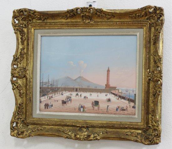 Pair Gilt Framed Italian Watercolors