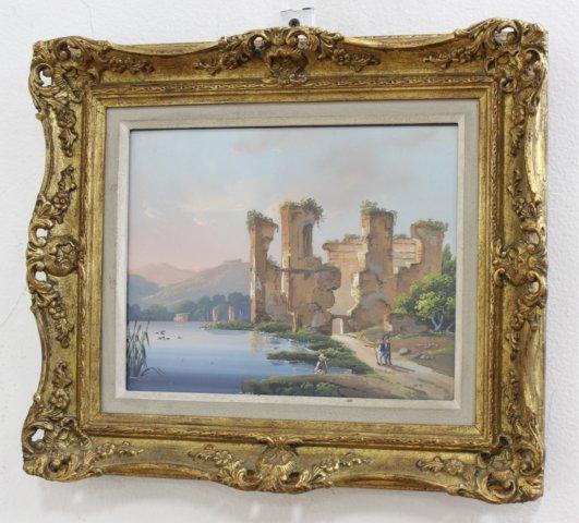 Pair Gilt Framed Italian Watercolors - 2